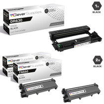 Compatible Brother DR630-TN660 Black Drum and 2 Toner Cartridge Set