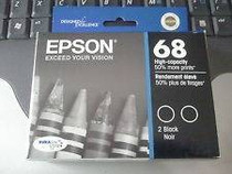 Compatible The Dual Pack: 2 x Black Epson #68 Ink Remanufactured Cartridges/ T068120