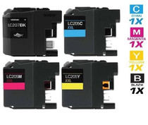 Compatible Brother LC207-LC205 InkJet Cartridge Extra High Yield 4 Color Set (LC207BK/ LC205C/ LC205M/ LC205Y)