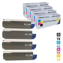 Compatible Okidata C610DTN Premium Quality Laser Toner Cartridges 4 Color Set