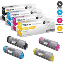 Compatible Okidata C5550NMFP Premium Quality Laser Toner Cartridges 4 Color Set
