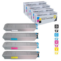 Compatible Okidata C810DN Premium Quality Laser Toner Cartridges 4 Color Set