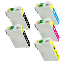 Compatible EPSON T125 SET OF 5 INK CARTRIDGES: 2 BLACK & 1 CYAN/ MAGENTA/ YELLOW