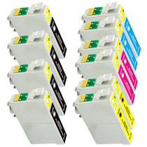 Compatible EPSON T125 SET OF 10 INK CARTRIDGES: 3 BLACK & 2 CYAN/ MAGENTA/ YELLOW