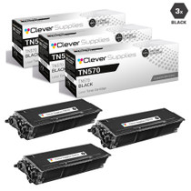 Compatible Brother TN570 Laser Toner Cartridge High Yield Black 3 Pack