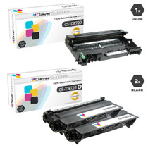Compatible Brother TN720-DR720 2 Pack Laser Toner and 1 Drum Unit Cartridge Set