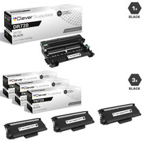 Compatible Brother TN720-DR720 3 Pack Laser Toner and 1 Drum Unit Cartridge Set