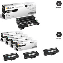 Compatible Brother TN720-DR720 4 Pack Laser Toner and 1 Drum Unit Cartridge Set