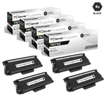 Compatible Brother TN750 Laser Toner Cartridge High Yield Black 4 Pack
