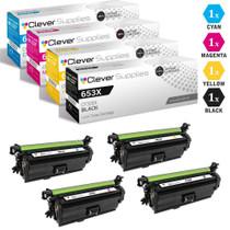CS Compatible Replacement for HP 653X / 653A Toner Cartridges 4 Color Set (CF320X, CF321A, CF323A, CF322A)