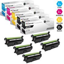 CS Compatible Replacement for HP 653X/653A Toner Cartridges 5 Color Set (CF320X, CF321A, CF323A, CF322A)