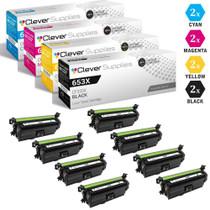 CS Compatible Replacement for HP 653X/653A Toner Cartridges 8 Color Set (CF320X, CF321A, CF323A, CF322A)