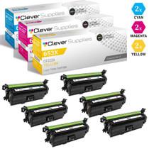 CS Compatible Replacement for HP 653A Toner Cartridges 6 Color Set (CF321A, CF323A, CF322A)