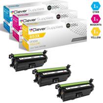 CS Compatible Replacement for HP 653A Toner Cartridges 3 Color Set (CF321A, CF323A, CF322A)
