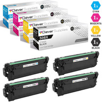 CS Compatible Replacement for HP 508X Toner Cartridges 4 Color Set (CF360X, CF361X, CF363X, CF362X)