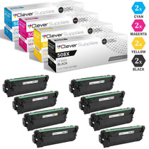 CS Compatible Replacement for HP 508X Toner Cartridges 8 Color Set (CF360X, CF361X, CF363X, CF362X)