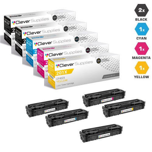 CS Compatible Replacement for HP 201X Laser Toner Cartridges High Yield 2 Black and CMY - 5 Color Set (CF400X/ CF401X/ CF403X/ CF402X)