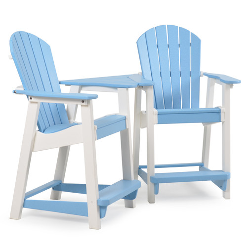 Adirondack Patio  Counter Stool Set with Slide In Table