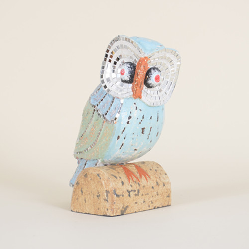 Distressed Owl With Mirror Mosaic