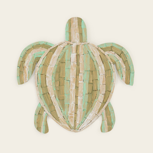 Wooden Piece Turtle Wall Hanging With Aqua/Green