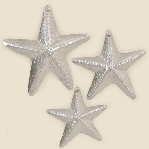 Set of Three Silver Starfish