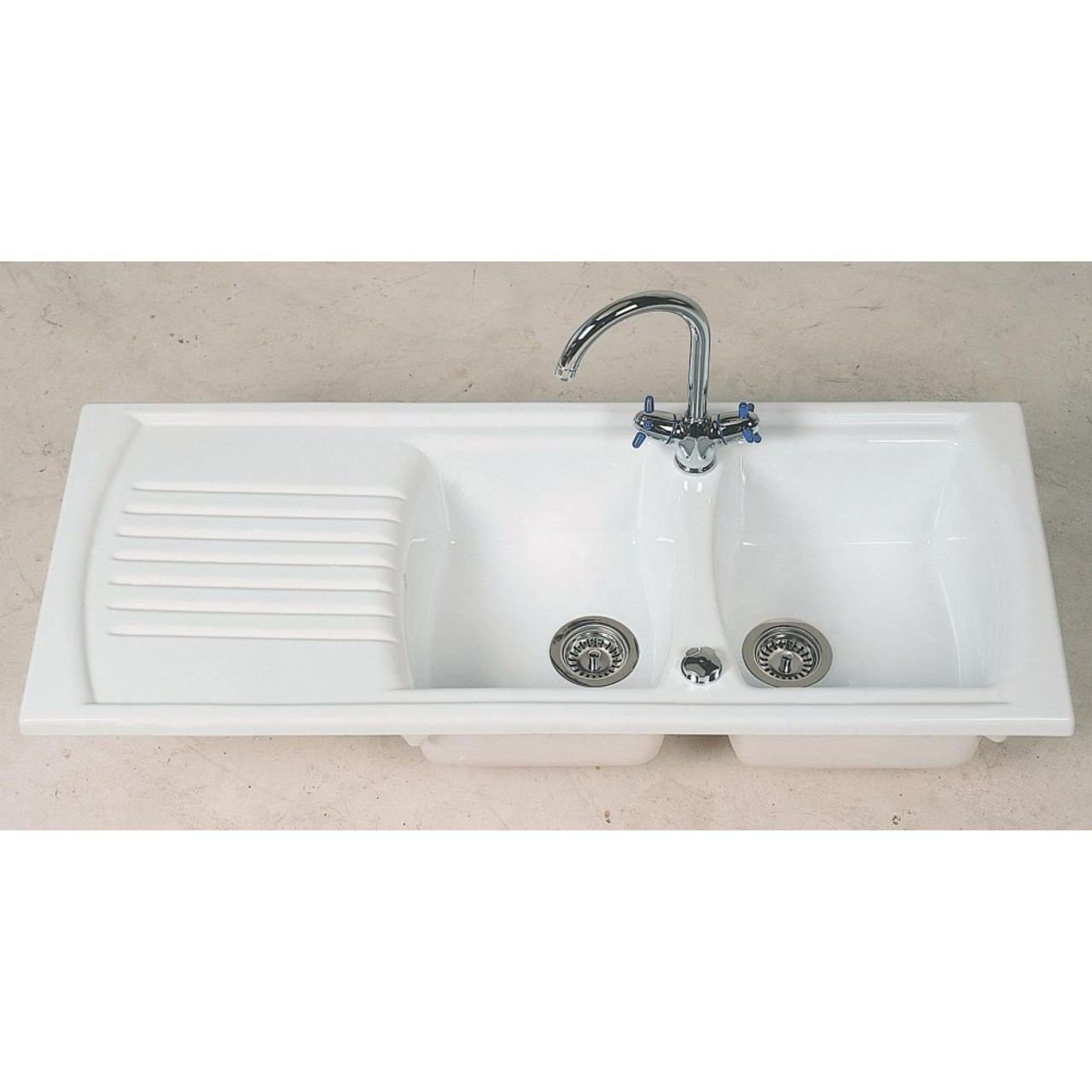 ceramic kitchen sink with drainer denby sonnet bowl sink sinks 8090
