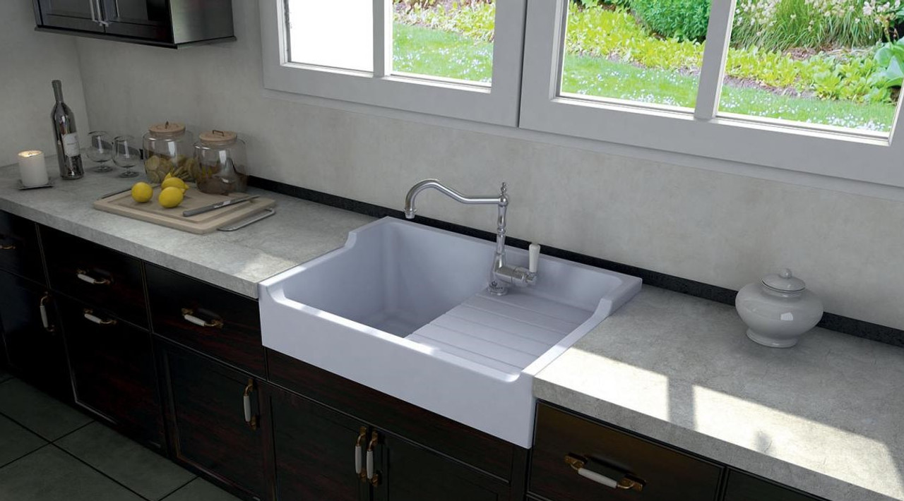 Chambord Francois I White Ceramic Kitchen Sink - Sinks
