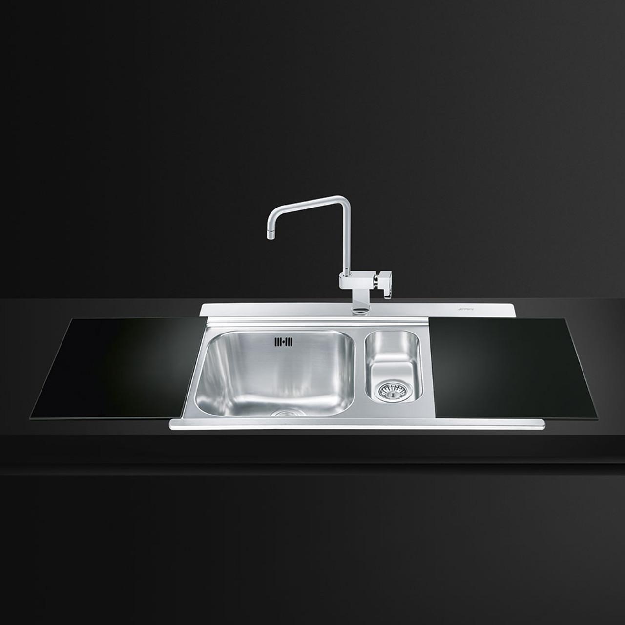 Smeg LI915N Iris One + Half Bowl Kitchen Sink With Drainer - Black ...