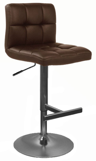 allegro brushed chrome bar stool brown leather bar stools