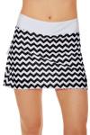 Chevron Pleat Tennis Skirt with White Ruffle AE-S122-BW-1 Image 5