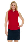 Greg Norman Essentials British Red Protek Micro Pique Sleeveless Golf Polo Shirt GN-G2S5K448-Calypso Coral Image 3