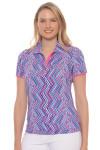 EP Pro Women's Sugar Rush Diagonal Linear Geo Print Golf Polo Shirt
