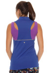 EP Sport Women's Obsidian Marble Zip Mock Sleeveless Top