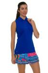 "Lucky In Love Women's Print Medley Boho Chic 14"" Pleat Tier Golf Skort"