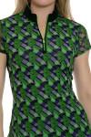 EP Sport Women's Prismatic Zig Zag Geo Print Golf Polo Shirt