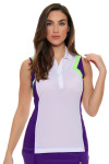 EP Sport Women's Prismatic Geometry Color Blocked Golf Polo Shirt