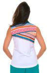 EP Pro Women's Cassis Criss Cross Geo Print Sleeveless Golf Polo Shirt