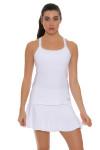 "Sofibella Women's Tulip Hem White 14"" Tennis Skirt SFB-1547 Image 6"