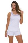 Sofibella Women's Scallop White Tennis Short SFB-1619 Image 5