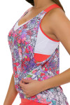 Lucky In Love Women's Outside the Lines Deep V Brallete Flame Tennis Tank