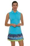 "Lucky In Love Women's Print Medley Bright Future 14"" Pleat Tier Golf Skort"