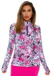 SanSoleil Women's UPF SolCool Pink Paisley Mock Sun Shirt SANS-900463-PBPGR Image 4