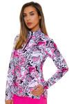 SanSoleil Women's UPF SolCool Pink Paisley Mock Sun Shirt SANS-900463-PBPGR Image 5