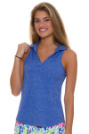 Allie Burke Royal Golf Sleeveless Polo Shirt