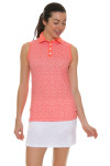 Redvanly Women's Echo Garden R Print Peach Golf Sleeveless Polo