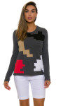 EP Pro NY Women's Gold Standard Abstract Puzzle Sweater EPNY-4341NCD Image 4