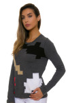 EP Pro NY Women's Gold Standard Abstract Puzzle Sweater EPNY-4341NCD Image 3