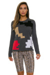 EP Pro NY Women's Gold Standard Abstract Puzzle Sweater EPNY-4341NCD Image 6
