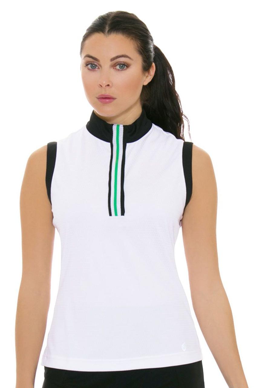0b6e58ed7 GGBlue Women s Bali Thea White Golf Sleeveless Shirt GG-E989-1766 ...