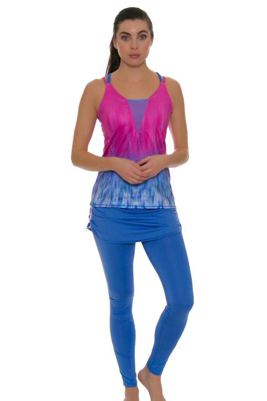 d4ba014c397e53 Lucky In Love Women's Floral Fantasy Stripe Tennis Skirt Legging  LIL-CB257-336430